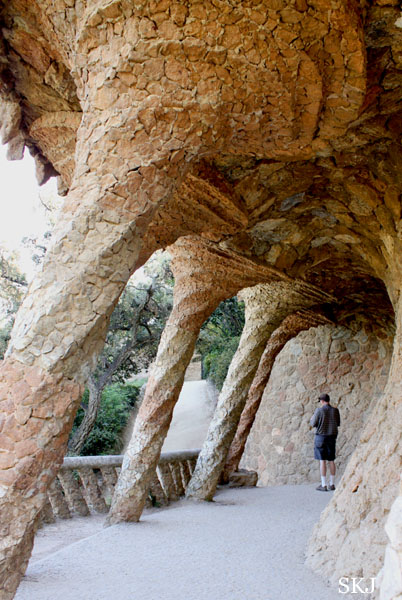 Walkway with spiraling rounded arches in Parc Guell Barcelona. photo by Shara Johnson