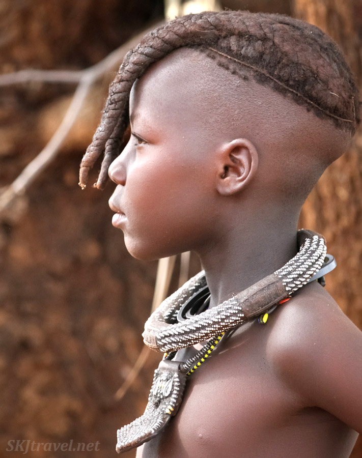 Profile of adolescent Himba girl. Kunene region of Kaokoland, Namibia.