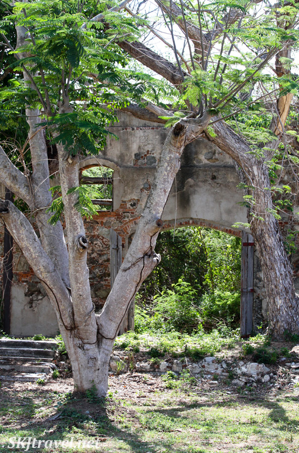 Brick ruins of the Central Grande Playa sugar mill, Esperanza, Vieques, Puerto Rico.