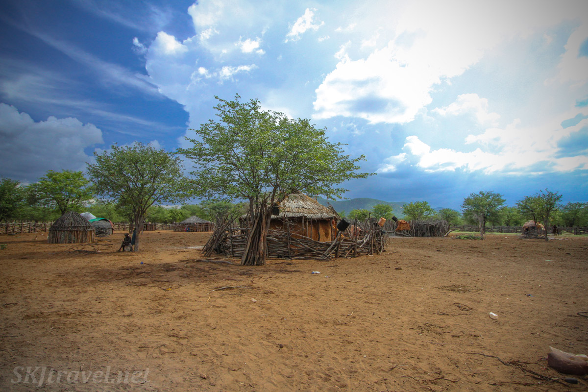 Inside Chief Kapika's kraal. Epupa Falls, Namibia. Traditional Himba homes.
