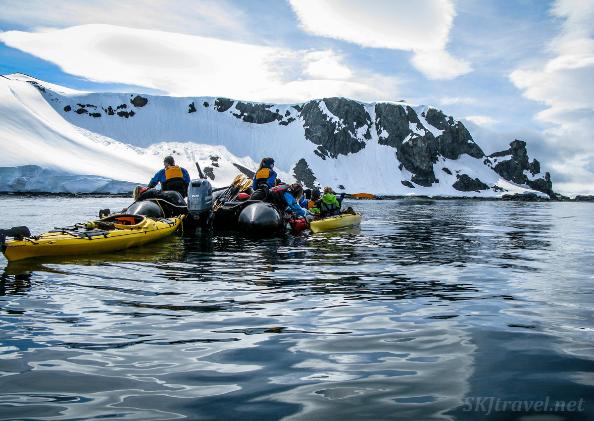 Launching kayaks from a zodiac, Antarctica.
