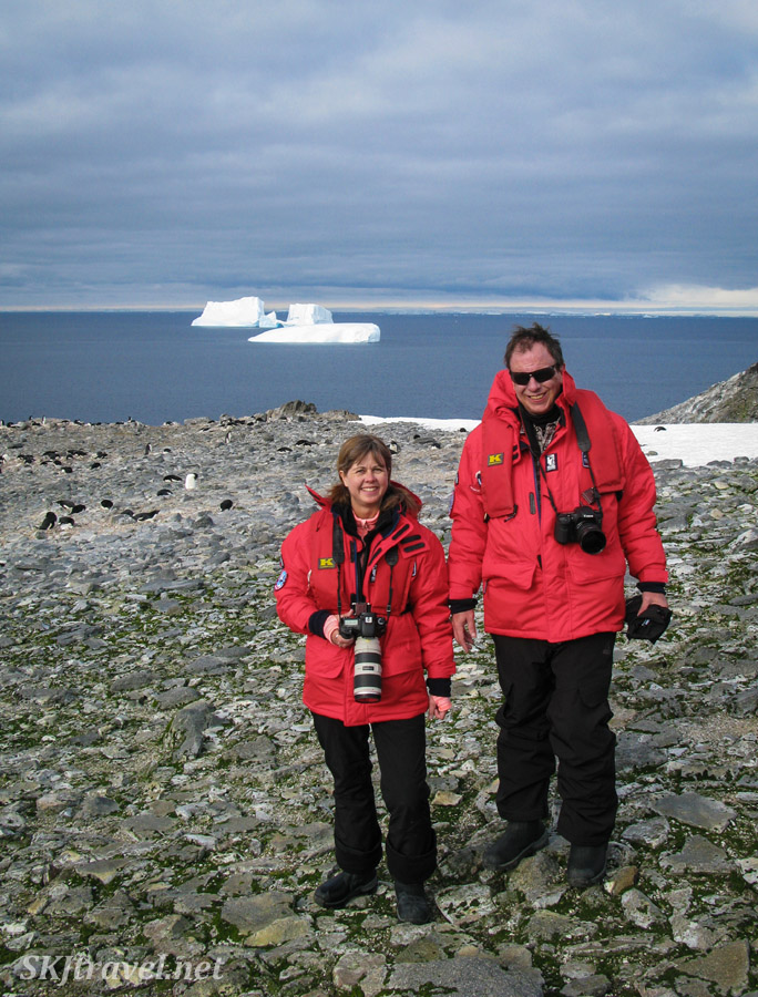 Erik and Shara on Gourdin Island, Antarctica.