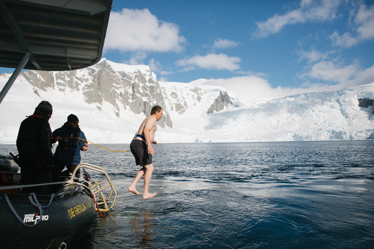 Erik doing the polar plunge in Antarctica.