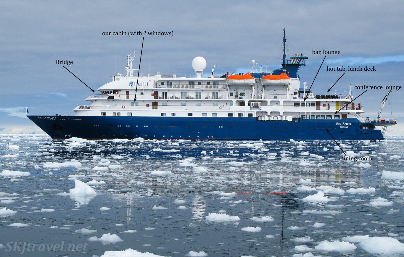 Sea Spirit Antarctic expedition cruise ship, in slushy ice.