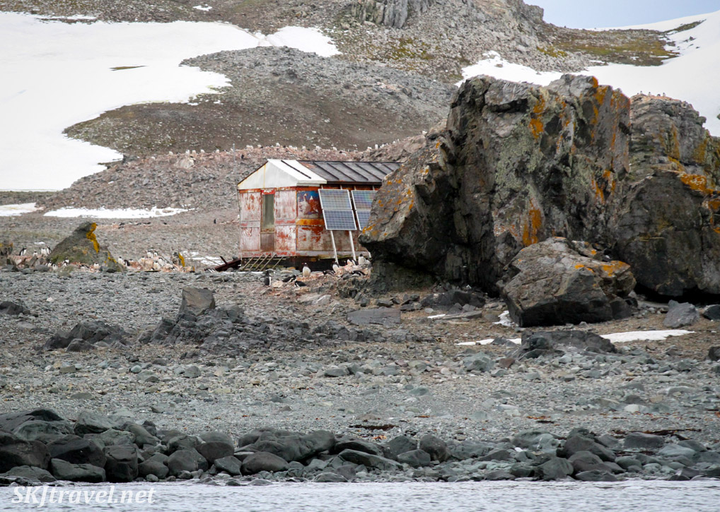 Dilapidated hut. Antarctica.