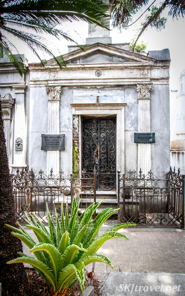 Decorative door to a mausoleum in Recoleta Cemetery, Buenos Aires, Argentina.