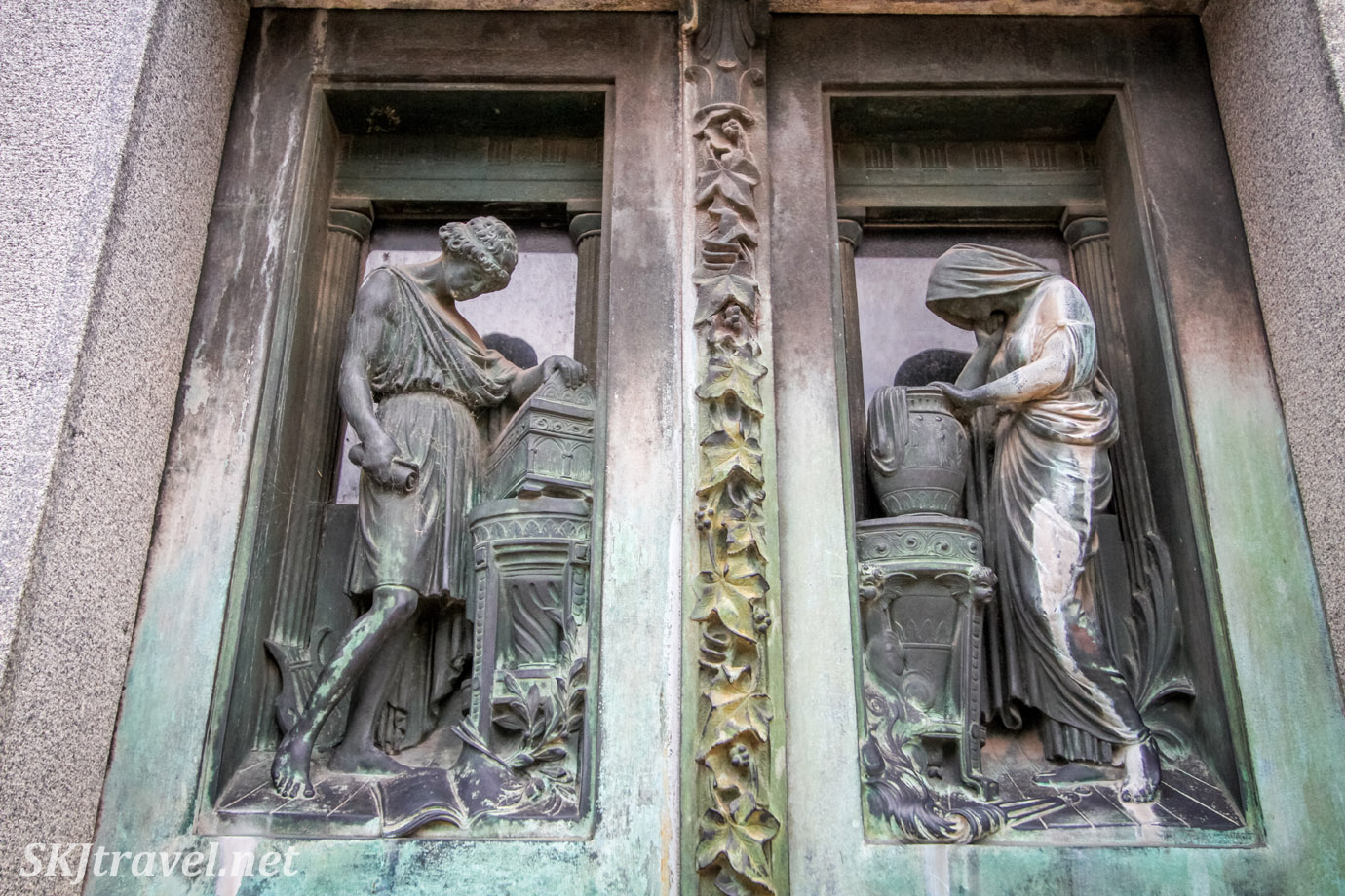 Beautiful bronze sculptures in the door of a mausoleum in Recoleta Cemetery, Buenos Aires, Argentina.