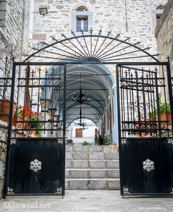 Entrance gate to Megalos Taksiarhis, the big Archangels Church, in the mastic Mesta village, Chios Island, Greece.