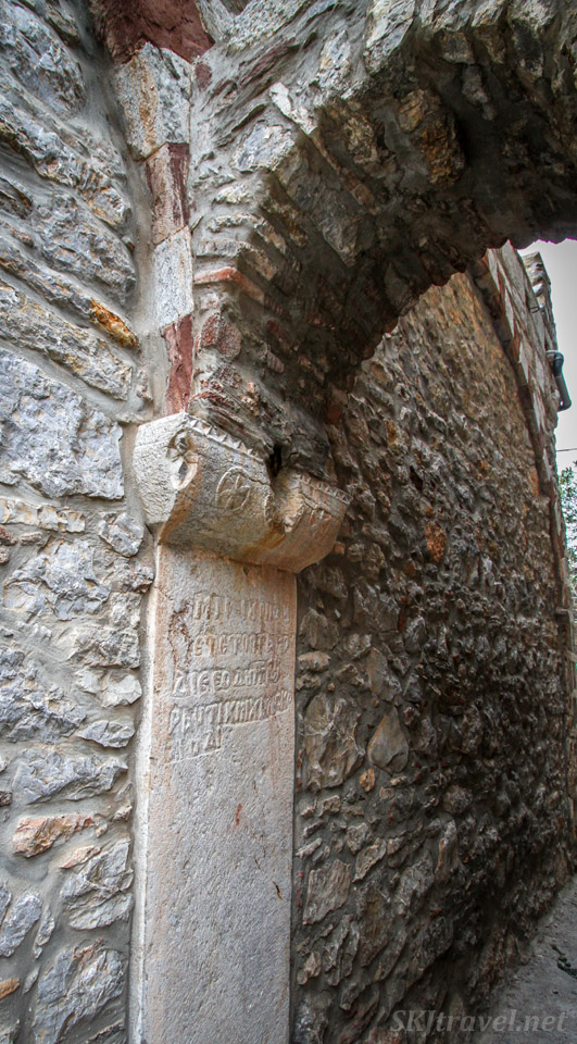 Detail of archway pillar in the medieval labyrinth of streets in the mastic Mesta village, Chios Island, Greece.