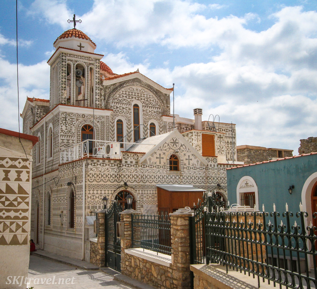 Town center of the medieval mastic village of Pyrgi, Chios Island, Greece.