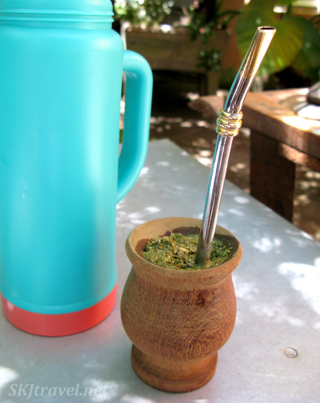 Drinking traditional yerba mate in Uruguay.