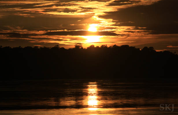 Sunrise on the Nile River in Murchison Falls National Park, Uganda.