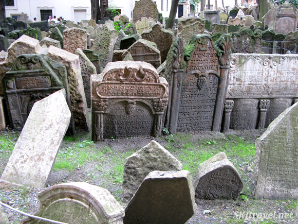 Hundreds of gravestones packed into a small area inside the Old Jewish Cemetery, Prague.