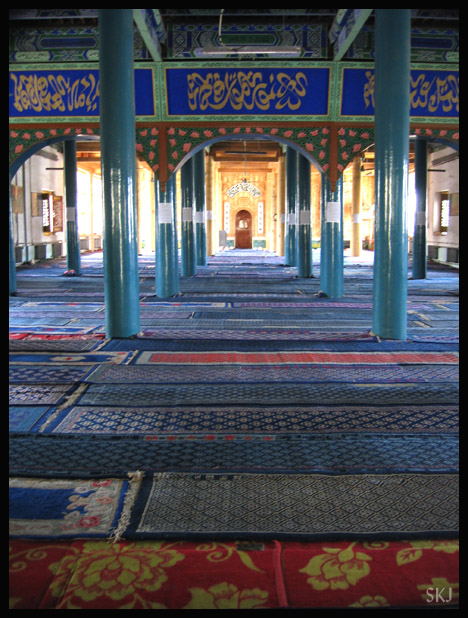 carpets and pillars inside mosque Near Yinchuan, China