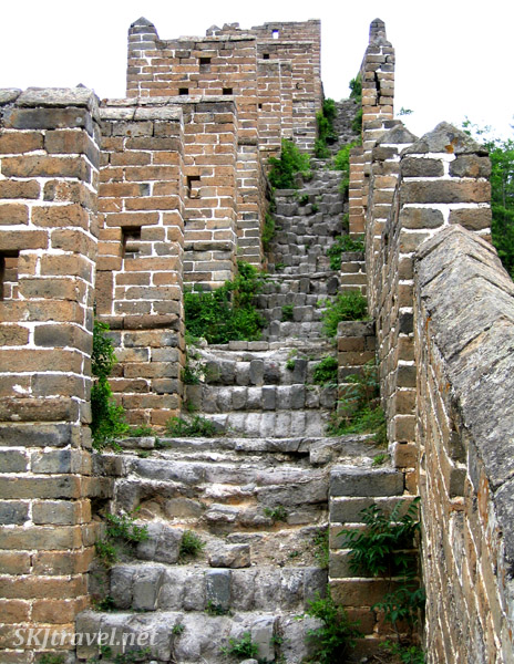 Crumbling steps along the Great Wall. China.