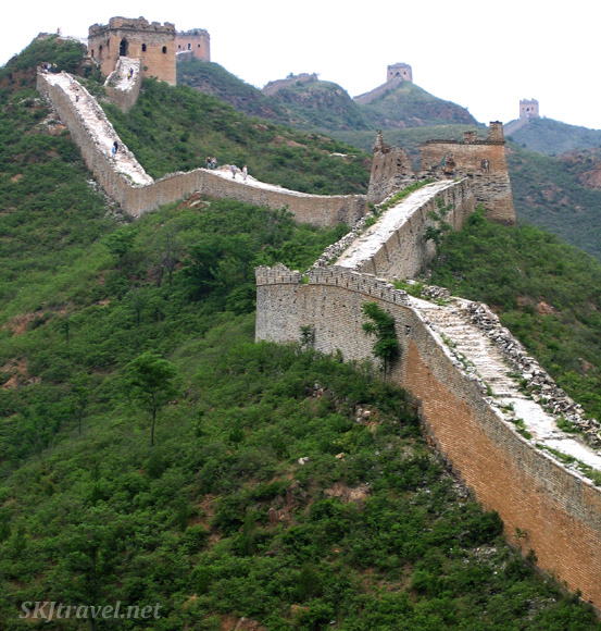 The Great Wall follows the ridgeline out of sight. China.