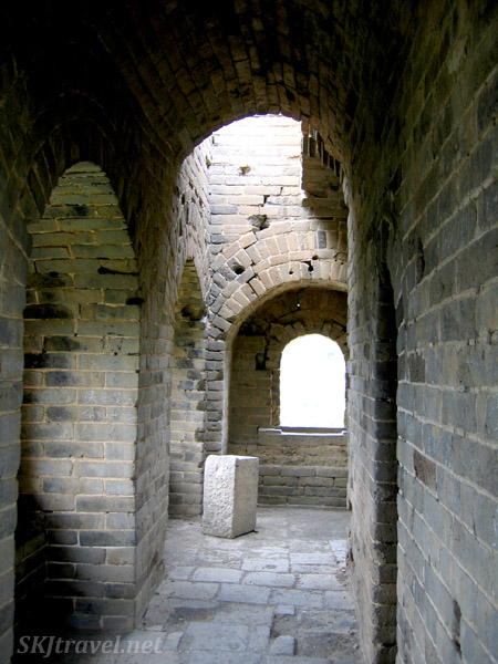 Inside a guard tower along the Great Wall of China.