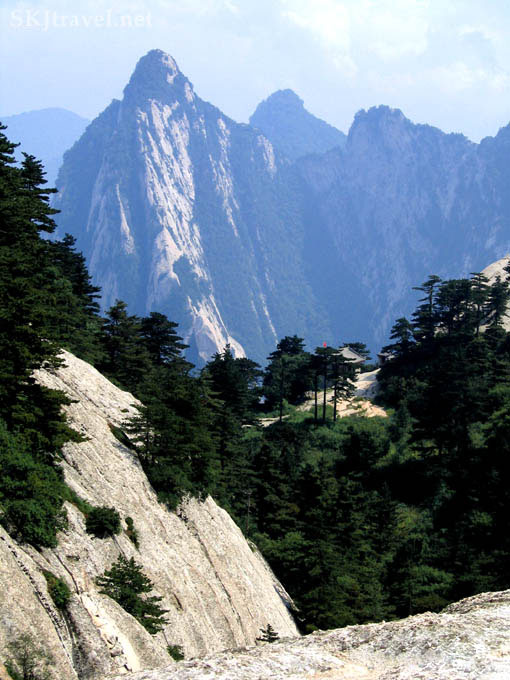 Dramatic landscape, steep mountain peaks, looking from Huashan (my lunch spot), Shaanxi Province, China.