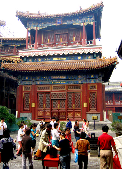One of the many individual temple buildings inside the Lama Temple complex. Beijing, China.