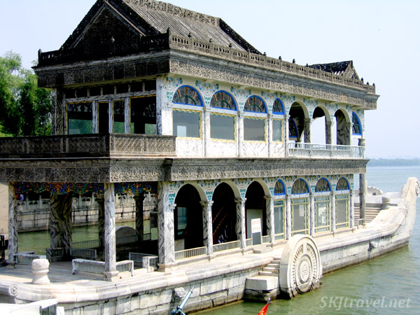 Ridiculous marble boat ... intricately made and beautiful but utterly impractical as a boat. Summer Palace, China.