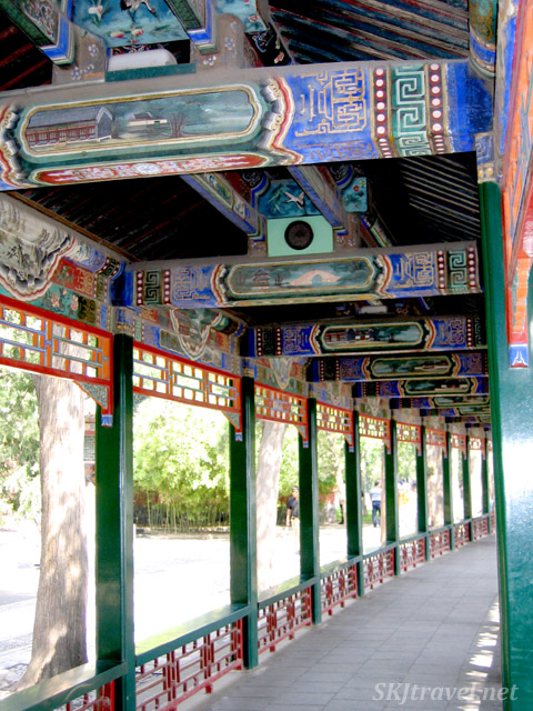 The Long Corridor, gently curving along Lake Kunming. Summer Palace, China.