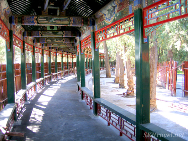 The Long Corridor under renovation. Summer Palace, China.