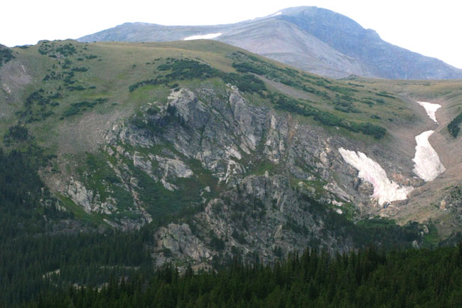 St. Mary's glacier seen from the Kingston Peak 4x4 route, Colorado.