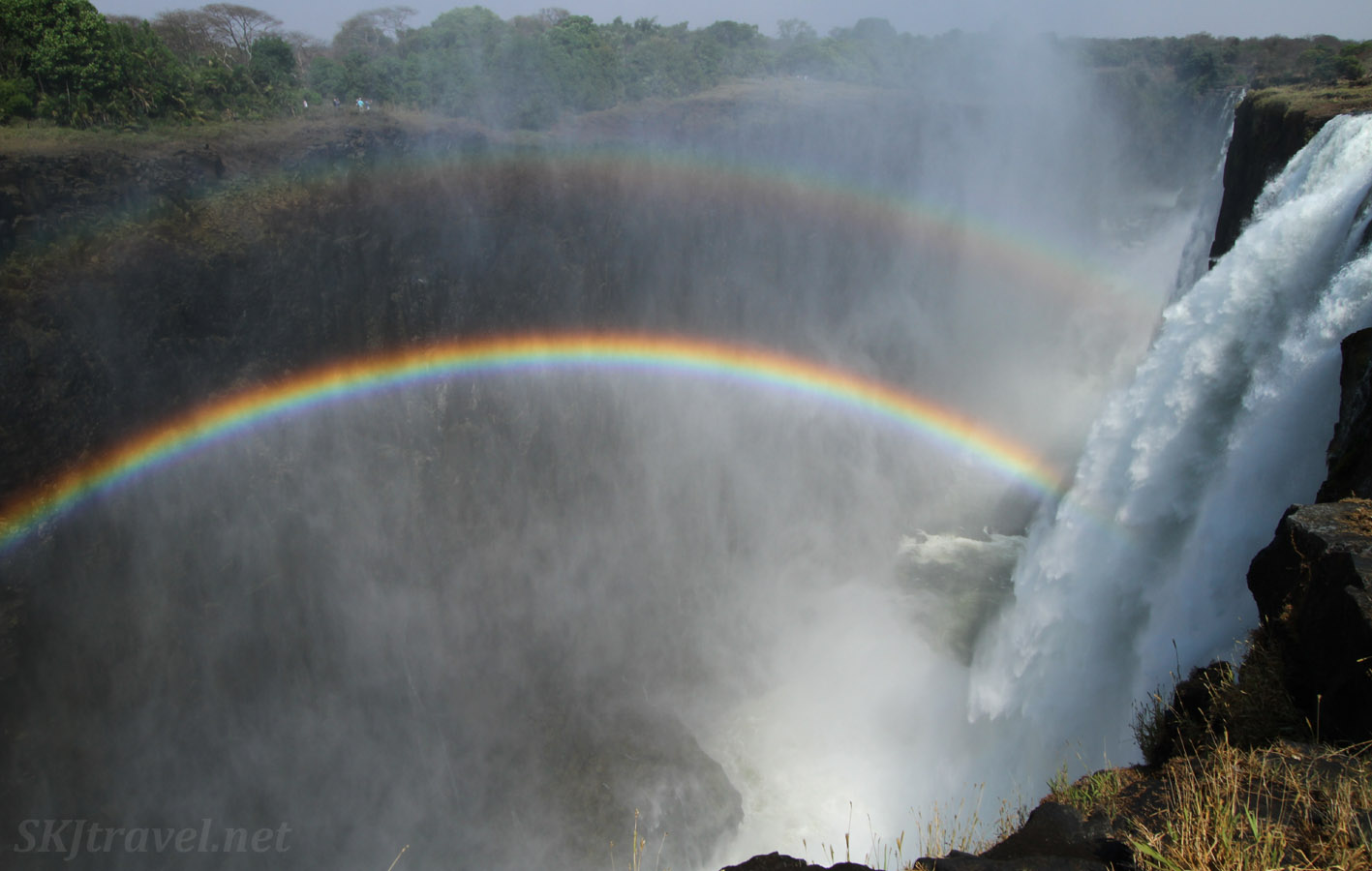 Victoria Falls in low later, at Livingstone Island, Zambia.