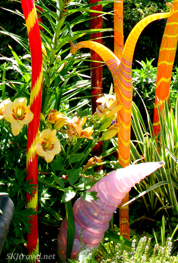 Whimsical Chihuly glass sculptures in the Denver Botanical Gardens.