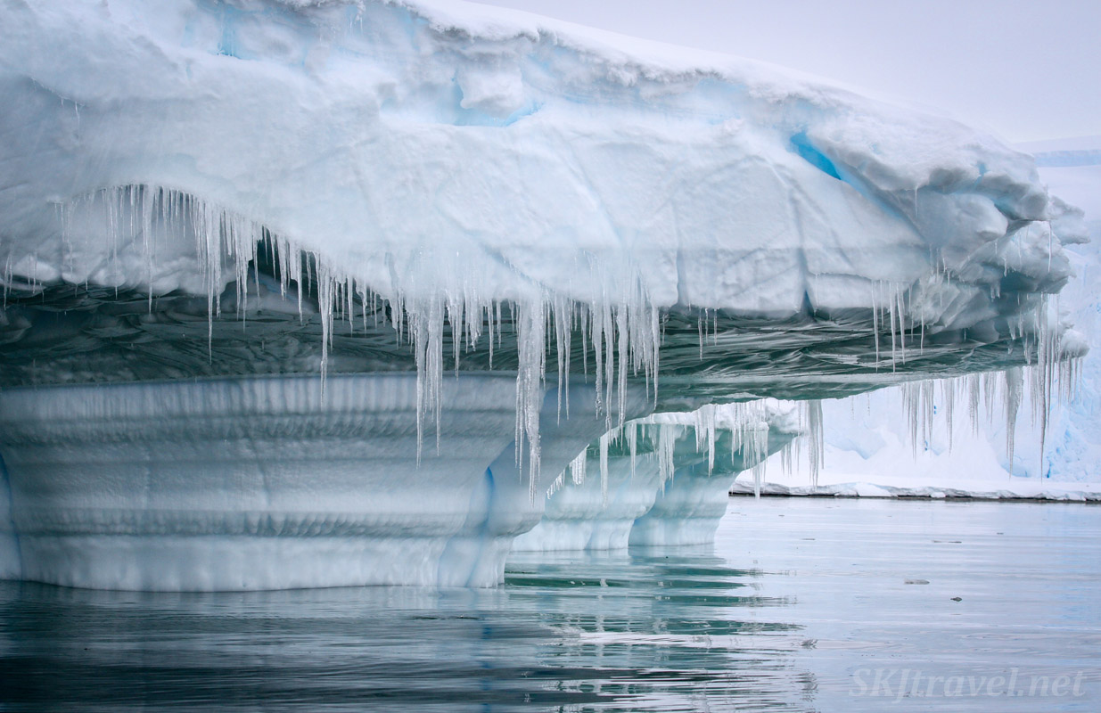 Iceberg with icicles, Wilhelmina Bay, Antarctic Peninsula. Antarctica!