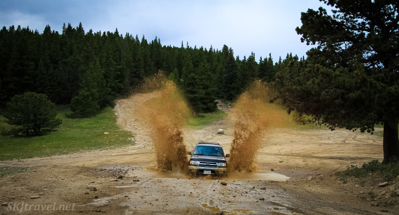 Our 4Runner, Chewbacca, running through mud near Central City, Colorado.