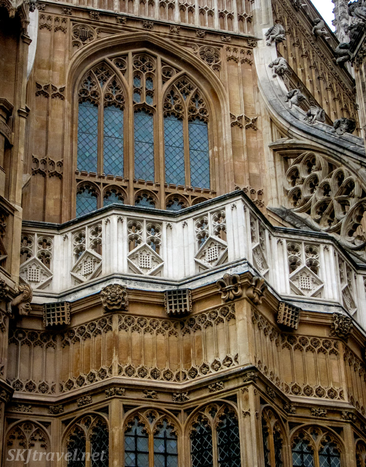 Close-up of exterior of Westminster Abbey, London.