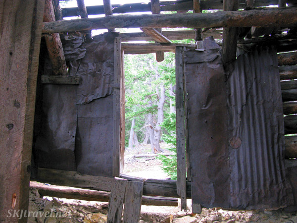 Inside old dilapidated mining shaft house on 4x4 route to Gamble Gulch, outside Rollinsville, Colorado.