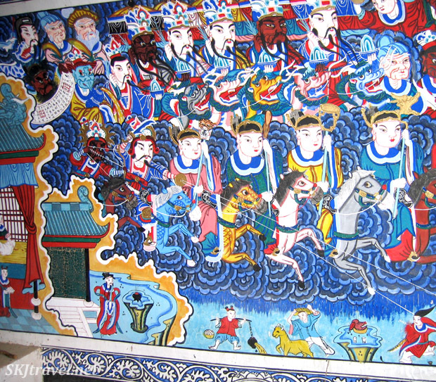 Wall mural depicting gods and their horses inside the village temple at Dang Jiashan, China.