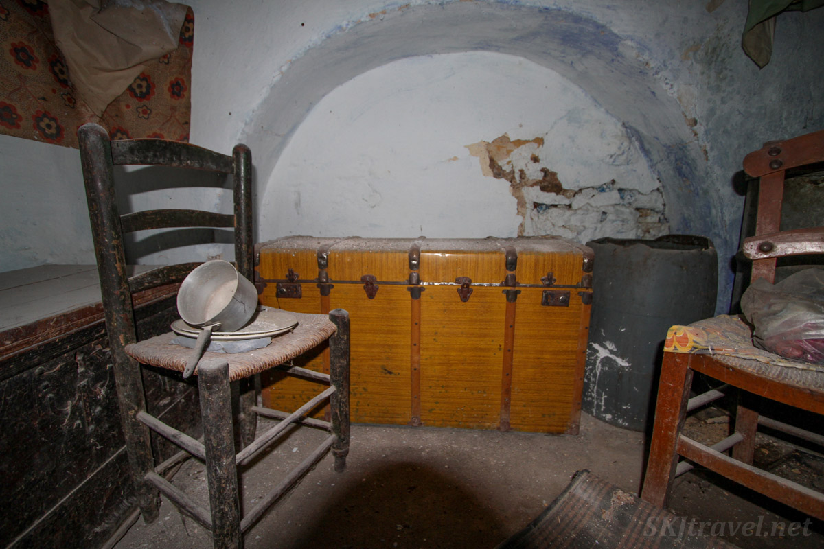 Large trunk inside the kitchen in an abandoned home in the old medieval village of Mesta on Chios Island, Greece.