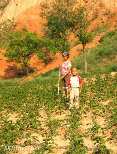 Woman and child peasants in working their fields. Dang Jia Shan village, Shaanxi Province, China.