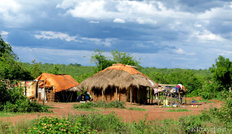 Rural banda home along the roadside traveling to Murchison Falls, Uganda.
