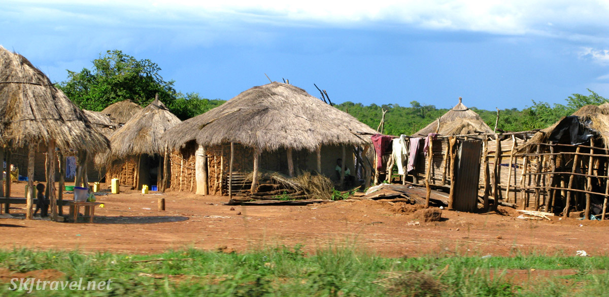 Bandas along the roadside traveling to Murchison Falls, Uganda