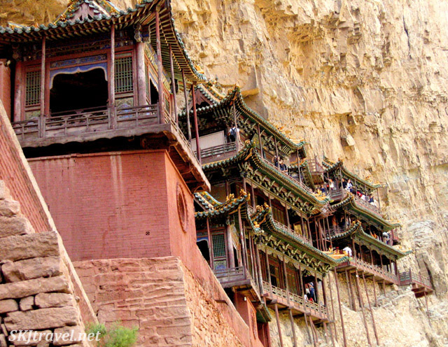 The Hanging Monastery outside Datong, China, supported by thin timber beams.