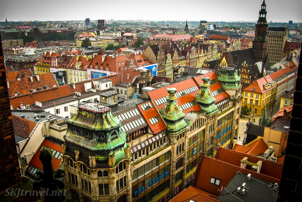 Rooftop view down onto Wroclaw, Poland.