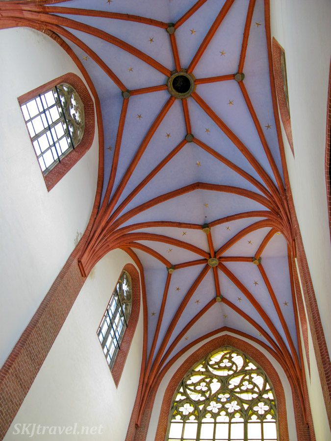 Gothic-style ceiling in cathedral, Wroclaw, Poland.