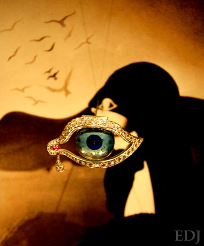 Famous Dali jewelled eye encrusted with diamonds. photo by Shara Johnson