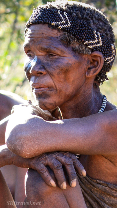 San woman from the Ju/'Hoansi-San Living Museum, Namibia.