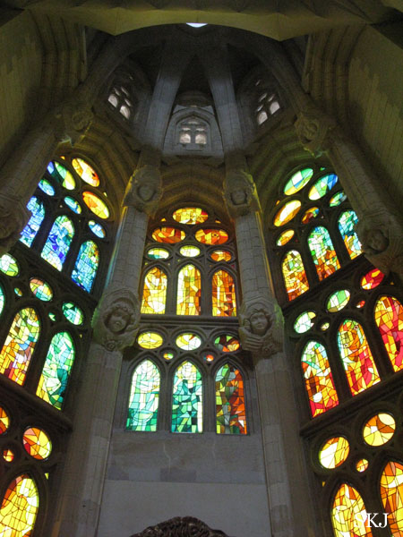 Stained glass windows inside the catherdral of Sagrada Familia. photo by Shara Johnson