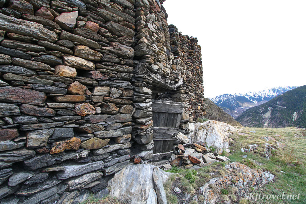 Abandoned stone farmstead in the hills of Andorra.
