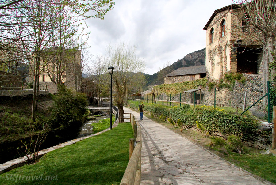 Creekside path in Ordino, Andorra.