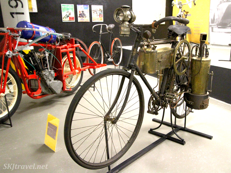 "Steam-powered bicycle (i.e. ""motorcycle"") in the Museu de la Moto, Canillo, Andorra."