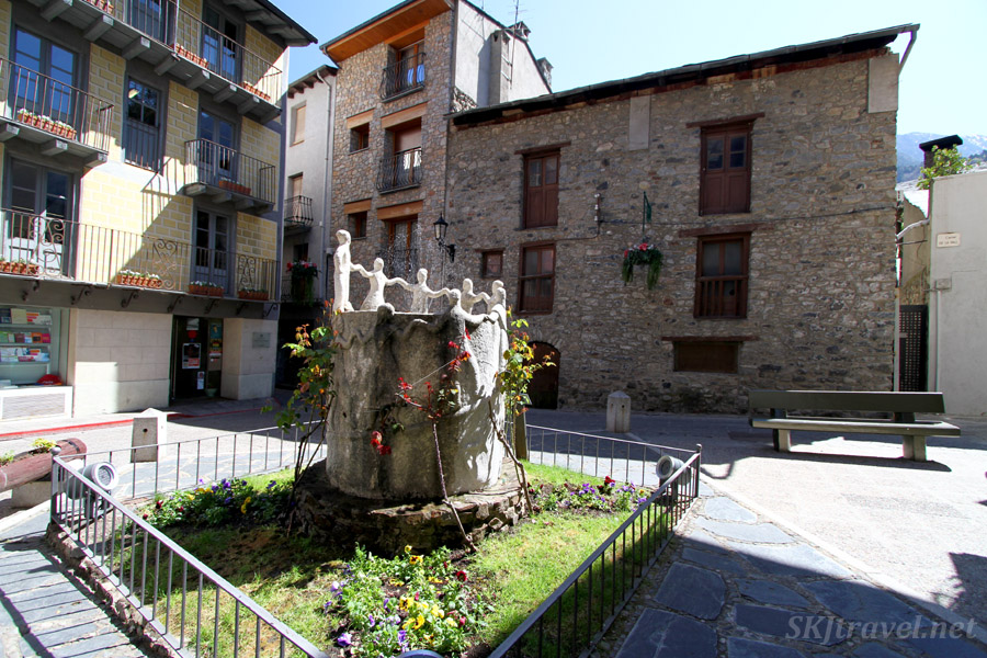 Fountain in a courtyard in the historic quarter of Andorra la Vella, Andorra.