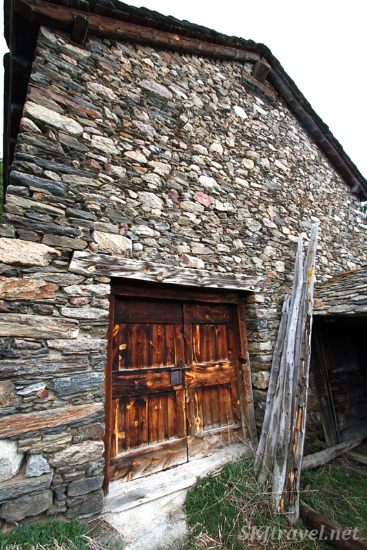 Abandoned stone farm house along the road in Andorra.