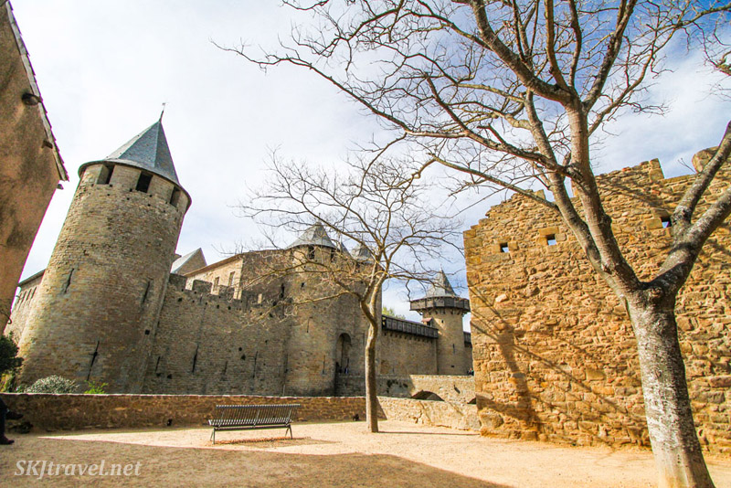 Inside the medieval walled city of Carcassonne, France, looking at the fortifications.